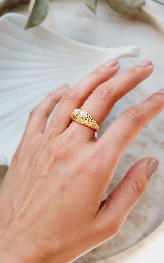 Daphne Dome Gold Plated & Pearl Ring by Ajouter Store