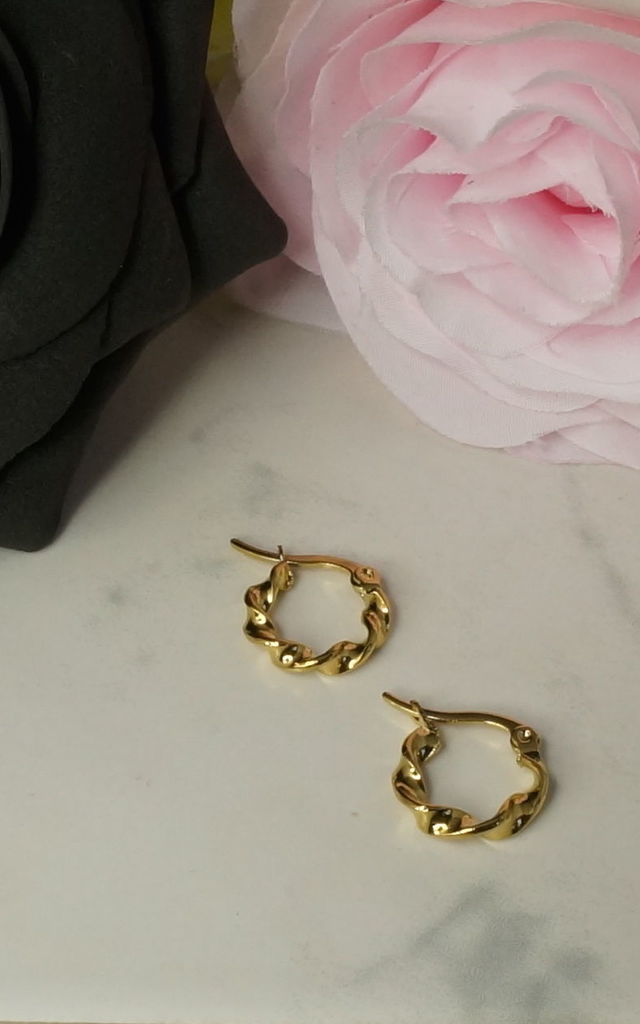 TWISTED MINI HOOP EARRINGS IN GOLD by EPITOME JEWELLERY