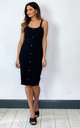 Sleeveless Dress with button front in Black by VM