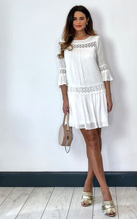 Three Quarter Sleeve Dress With Lace Detail In White by ONLY Product photo