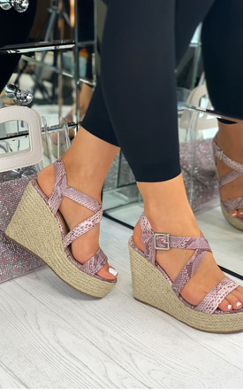 Kaydence Pink Espadrille Wedges with Cross Straps by Larena Fashion