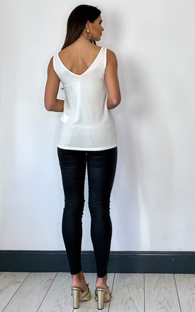 Vest Top with V Neck in White by VM