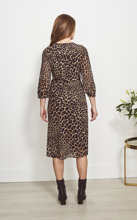 Sheer Sleeve Midi Wrap Dress in Leopard Print by SOSANDAR