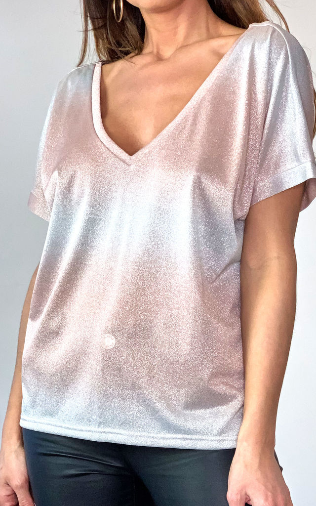 V Neck Tee in Pink & Silver Ombre Shimmer by Traffic People