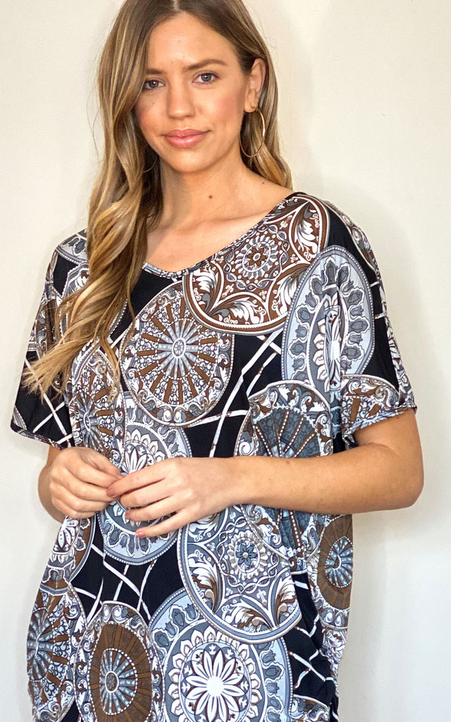 Printed Jersey Top V-Neck Ruched Sides Brown by Malissa J Collection