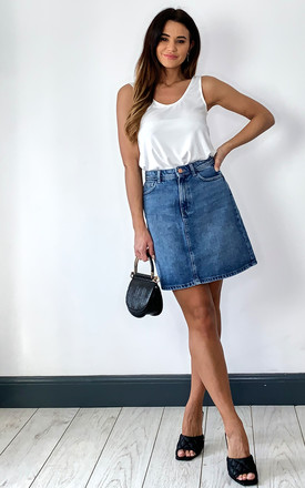 A Line Denim Skirt In Blue by Pieces Product photo