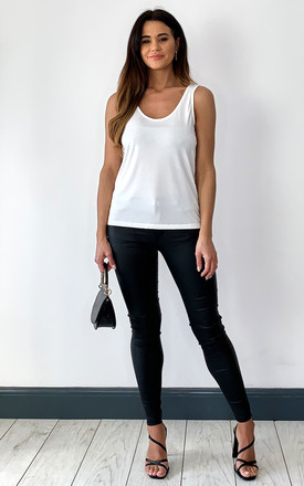 Scoop Neck Tank Top In White by Pieces Product photo