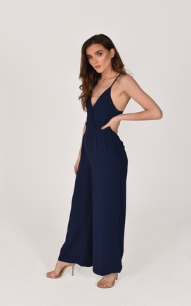 Mia V Neck Spaghetti Strap Jumpsuit in navy blue by Baloot