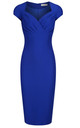 Cobalt Pencil Dress with Pleated Detail by Zoe Vine
