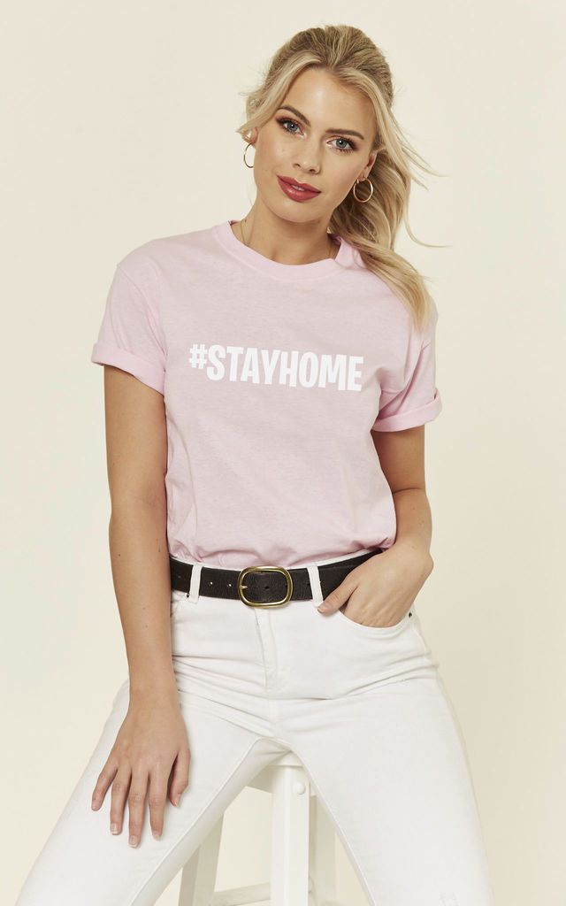 Pink Loungewear Tshirt with Stay Home Slogan by Love