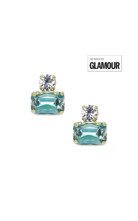 Twin Gem Earring in Aquamarine Blue by LAST TRUE ANGEL