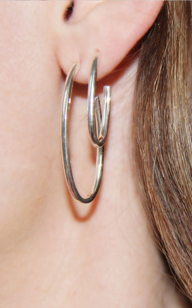 Large Silver Opal Hoop Earrings by XISSJEWELLERY