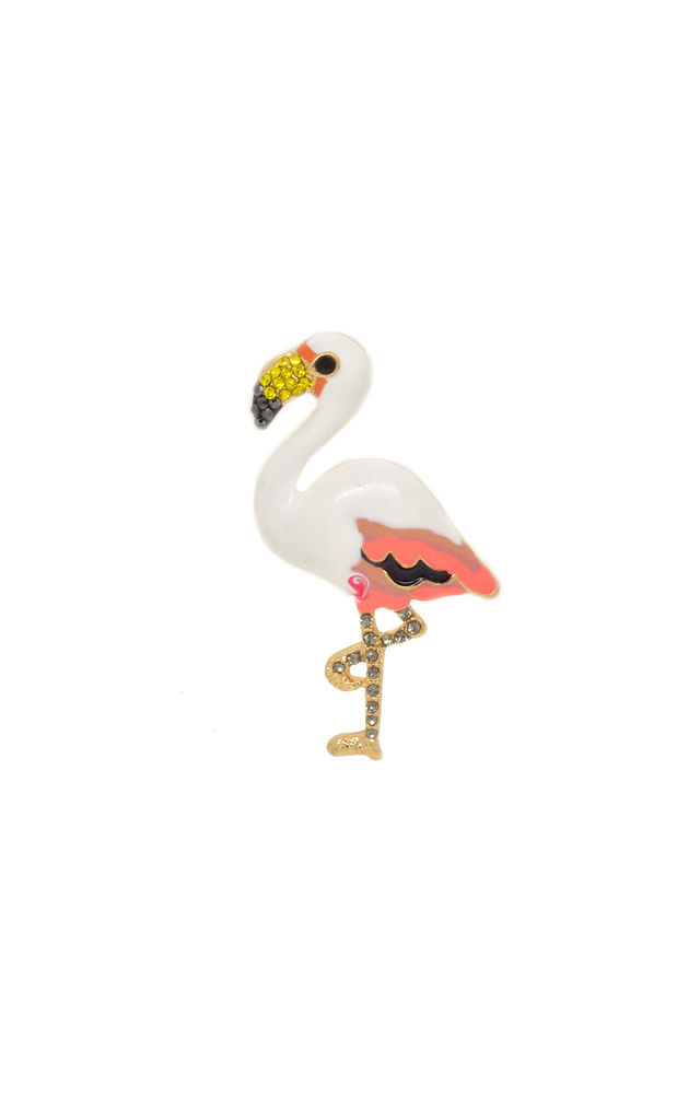 Flamingo Pin Brooch in White and Pink by LAST TRUE ANGEL