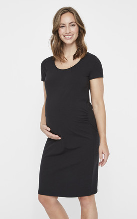 Maternity Short Sleeve Jersey Dress In Black by Mamalicious Product photo