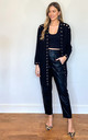 Oversized Cardigan with Eyelet Detail in Black by Malissa J Collection