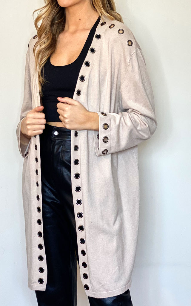 Oversized Cardigan with Eyelet Detail in Stone by Malissa J Collection