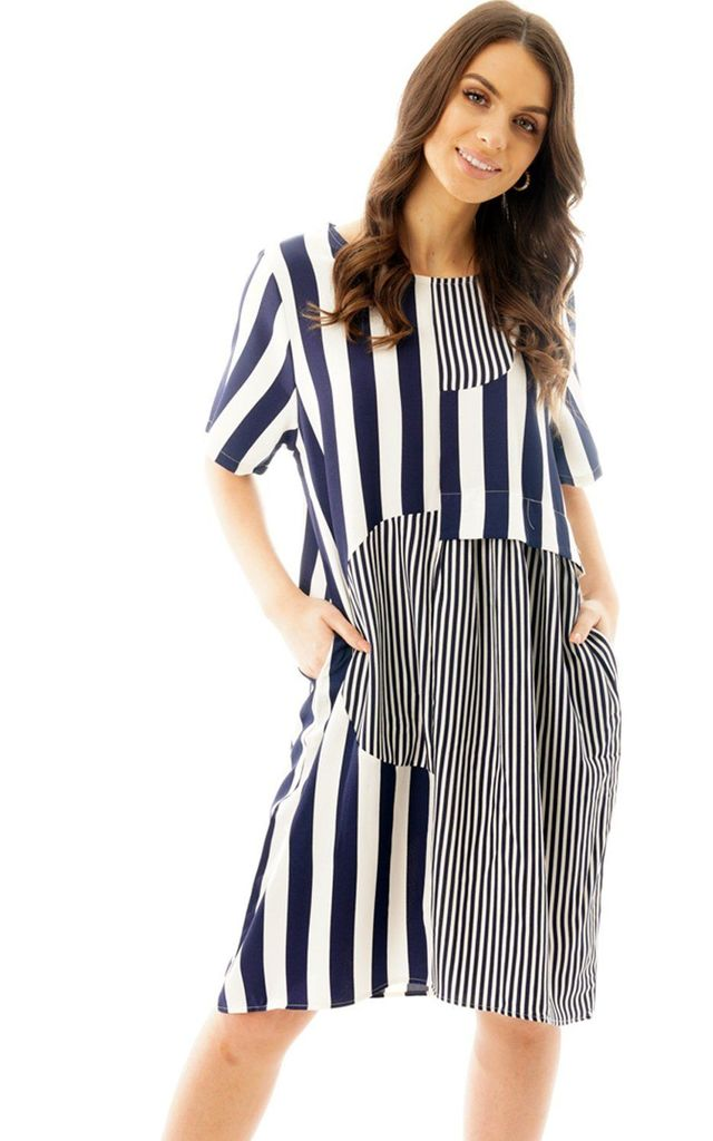 STRIPED LINEN LOOK SMOCK DRESS IN NAVY by LOES House