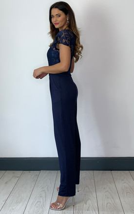 Navy Jumpsuit with Lace Top Overlay by Mela London
