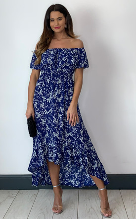 Blue And White Flower Bardot High Low Maxi Dress by Mela London Product photo