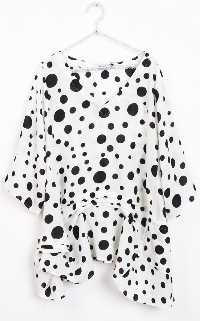 White with Black Spot Polka Dot Swing Top by LOES House