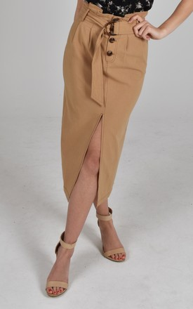 Michelle Brown Tie Front belted midi Skirt with front slit by Baloot