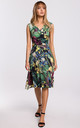 Summer Sleeveless Wrap Dress in Green Floral Print by MOE