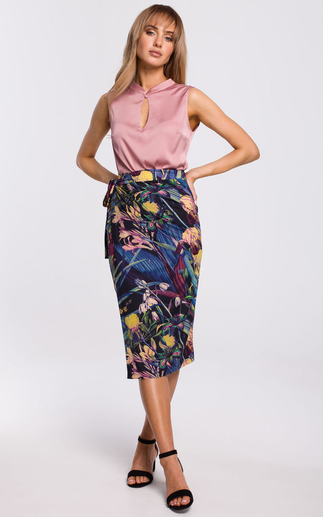 Wrap Skirt in Blue Floral Print by MOE