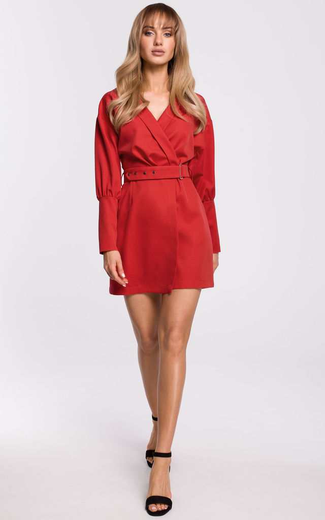 Wrap Mini Dress with Puffed Sleeves in Red by MOE