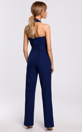 Elegant Jumpsuit with Asymmetric Neckline in Navy Blue by MOE