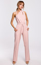 Elegant Jumpsuit with Asymmetric Neckline in Powder by MOE