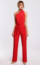 Elegant Jumpsuit with Asymmetric Neckline in Red by MOE