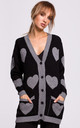 Comfy Black Cardigan with Grey Heart Pattern by MOE