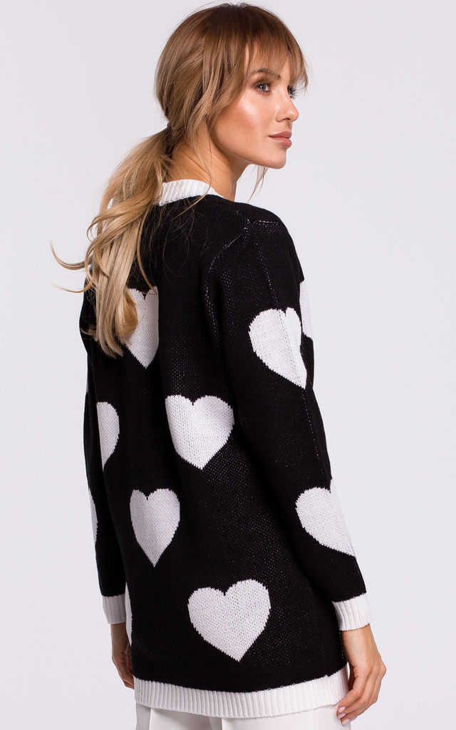 Comfy Black Cardigan with White Heart Pattern by MOE
