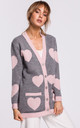 Comfy Grey Cardigan with Pink Heart Pattern by MOE