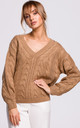 Cozy and Comfy V-Neck Pullover in Beige by MOE