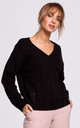 Cozy and Comfy V-Neck Pullover in Black by MOE