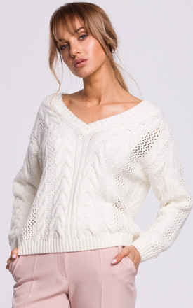 Cozy and Comfy V-Neck Pullover in Ecru by MOE