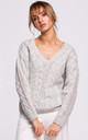 Cozy and Comfy V-Neck Pullover in Grey by MOE