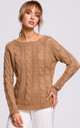 Cozy and Comfy Bateau Neck Pullover in Beige by MOE