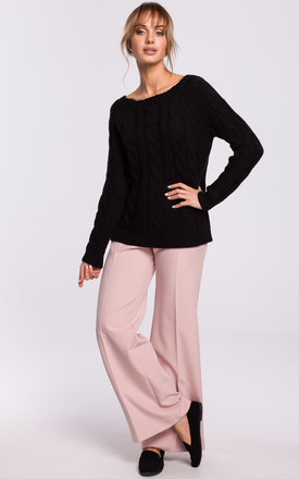 Cozy and Comfy Bateau Neck Pullover in Black by MOE