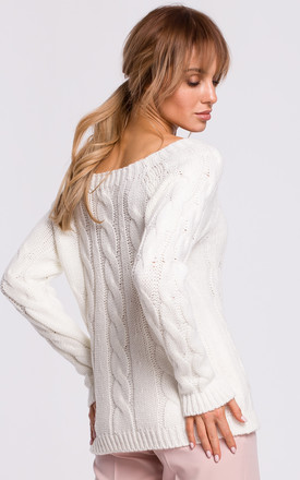 Cozy and Comfy Bateau Neck Pullover in Ecru by MOE