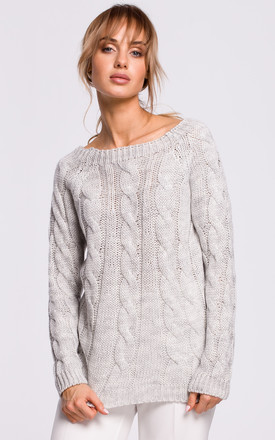 Cozy and Comfy Bateau Neck Pullover in Grey by MOE
