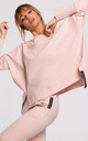 Cozy Oversized Jumper with Side Splits in Pink by MOE