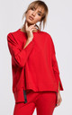 Cozy Oversized Jumper with Side Splits in Red by MOE