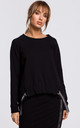 Cozy and Comfy Oversized Black Jumper with Logo Stripes by MOE