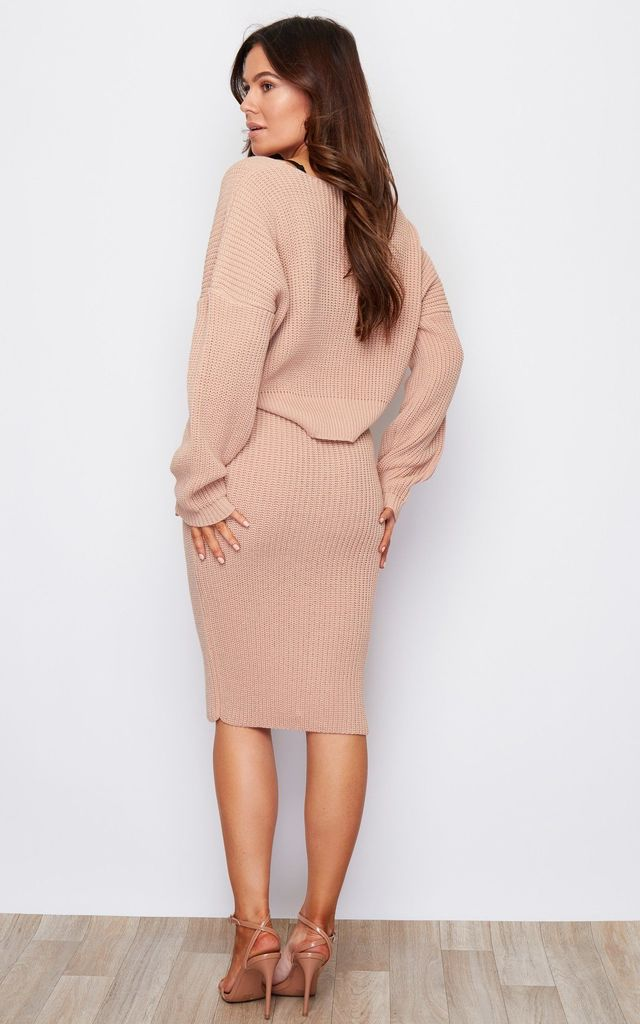 Ella Knit Midi Skirt Nude by Girl In Mind