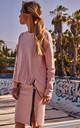 Cozy and Comfy Oversized Pink Jumper with Logo Stripes by MOE