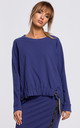 Cozy and Comfy Oversized Blue Jumper with Logo Stripes by MOE