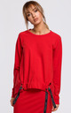 Cozy and Comfy Oversized Red Jumper with Logo Stripes by MOE