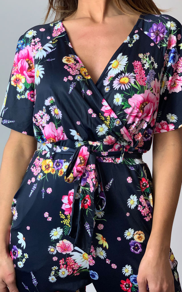 Navy Daisy Bouquet Floral Print Jumpsuit by Yumi